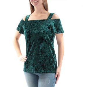 Inc International Concept Velvet Cold-Shoulder Top